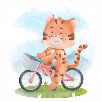 Милый кот с велосипедом