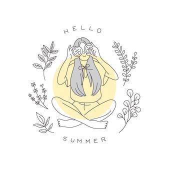 こんにちは夏のイラスト