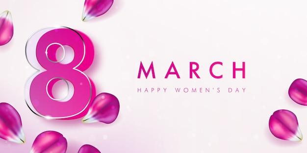 ピンクのチューリップの花びらが飾られた国際女性デーのバナー。