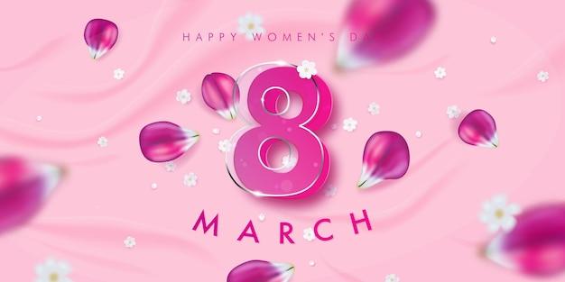 Баннер к международному женскому дню с декором из розовых лепестков тюльпана