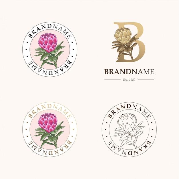 植物のロゴのテンプレートのセット