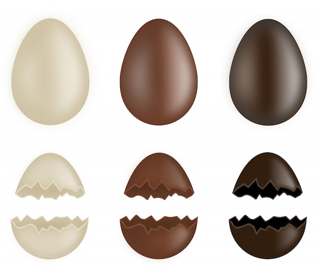 全体と壊れたチョコレートの卵のセット