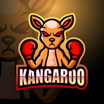 Кенгуру боксер талисман киберспорт дизайн логотипа