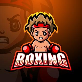 Мальчик боксер талисман кибер дизайн логотипа