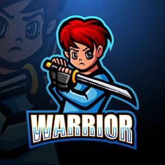 Воин ниндзя талисман киберспорт дизайн логотипа