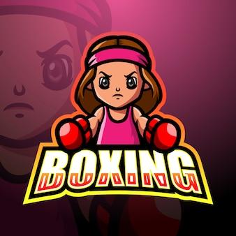 Женский боксер талисман кибер дизайн логотипа
