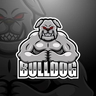 Сильный бульдог талисман киберспорт логотип иллюстрации