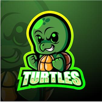 Черепаха талисман киберспорт иллюстрация