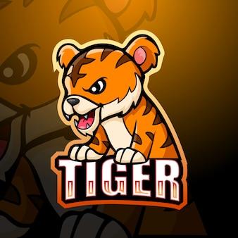 Тигр талисман киберспорт иллюстрация
