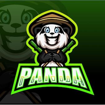 Панда талисман киберспорт иллюстрация