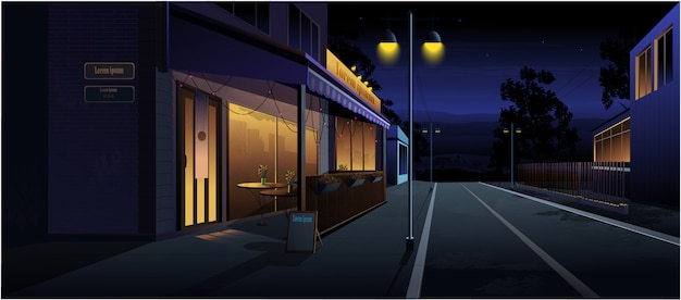 旧市街の通りの夜の風景