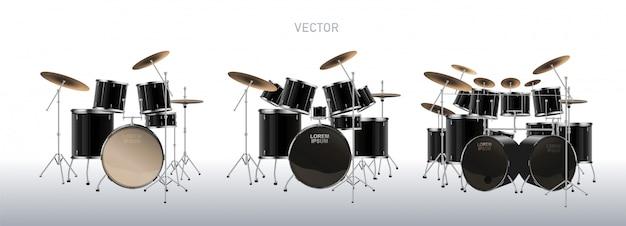 リアルなドラムキット。ドラムのセット。図。