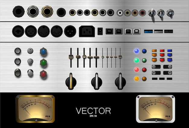 音楽用のボタン、コネクタ、その他のアクセサリのセット。 。