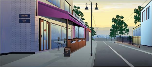 路上で昼間の風景カフェ。