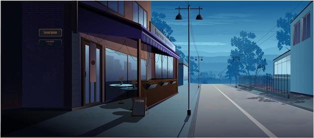 通りの朝の風景カフェ。