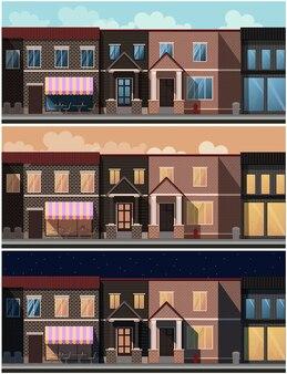 異なる時間帯の都市
