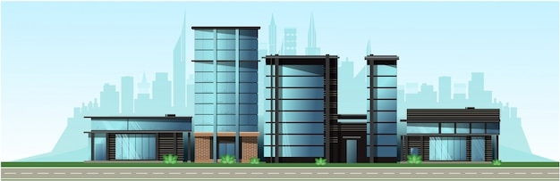 Деловой город с современными домами