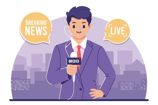 Репортер новостей плоский дизайн иллюстрация