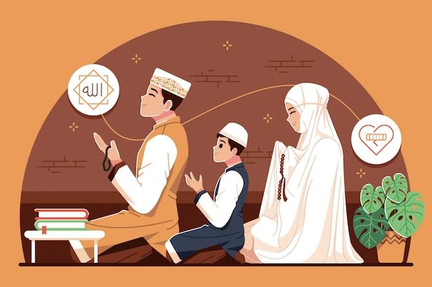 イラストを一緒に祈るイスラム家族