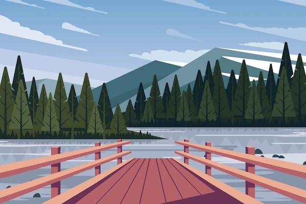 フラット自然風景の背景