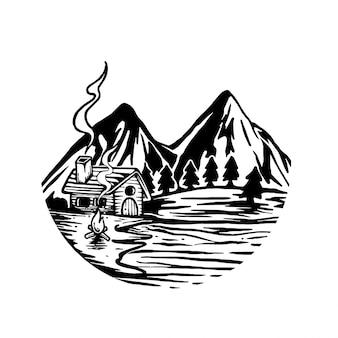 山とアウトドアの冒険イラスト