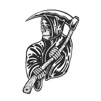 鎌と死神の頭蓋骨