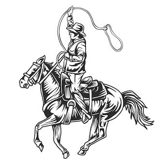 白い背景の図に馬に乗るカウボーイ