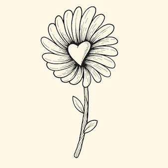 手描きの花の心のセット