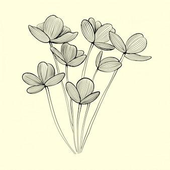 手描きのグラフィック花ビンテージイラスト