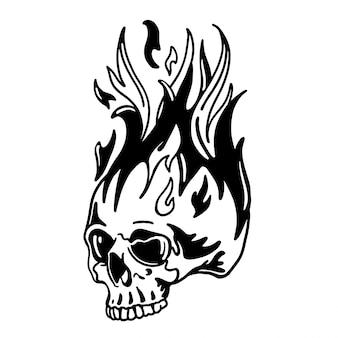 炎の図と火の頭蓋骨