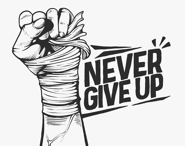 Никогда не сдавайся мотивации концепции черно-белой иллюстрации