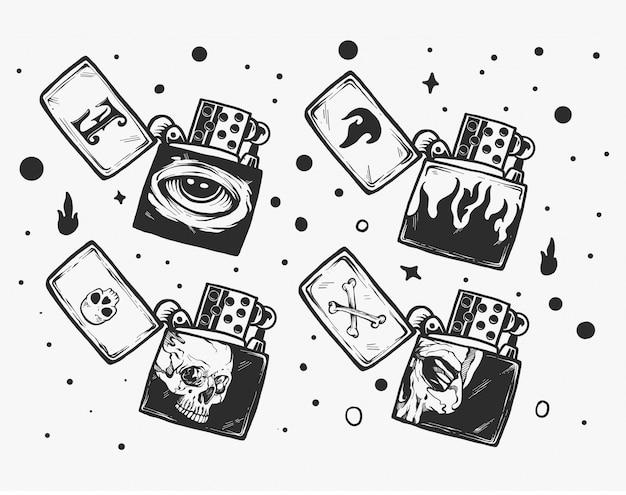 マッチのコレクション。火と燃えるマッチ