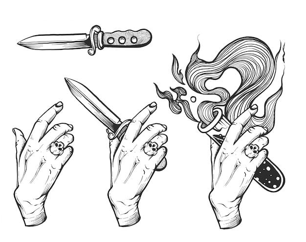 ナイフとポーションを持っている手