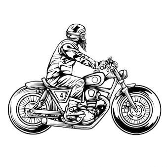 オートバイ。側面図。彫刻スタイルで手描きの古典的なチョッパーバイク。