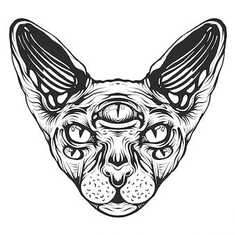 黒と白の動物猫の頭、抽象芸術、タトゥー、落書きスケッチ。スフィンクスの猫。