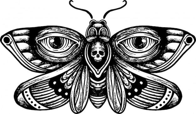 ヴィンテージ手描き下ろし頭蓋骨蛾図面イラスト