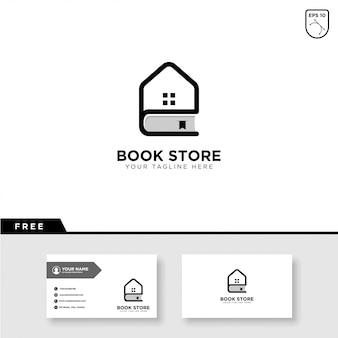 Книжный магазин дизайн логотипа и шаблон визитной карточки