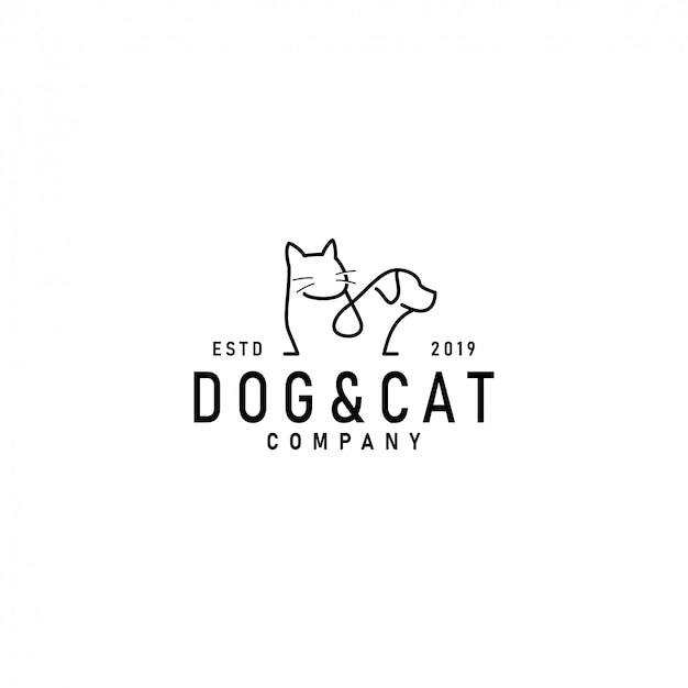 Шаблон логотипа кошка и собака