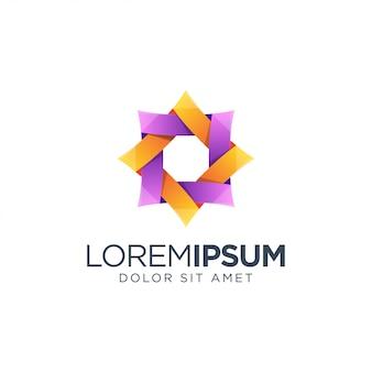 Красочный дизайн логотипа шестиугольника