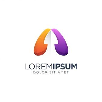 矢印の付いたオレンジと紫の抽象的なロゴのテンプレート