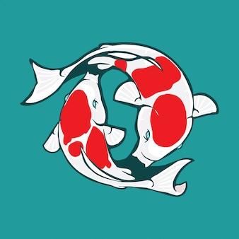 Дизайн логотипа кои, иллюстрация кои