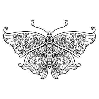Мандала бабочка дизайн раскраски