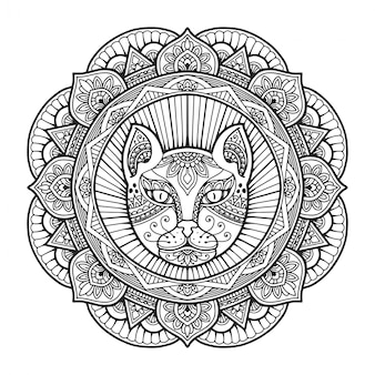 Кошачья голова мандала раскраски.