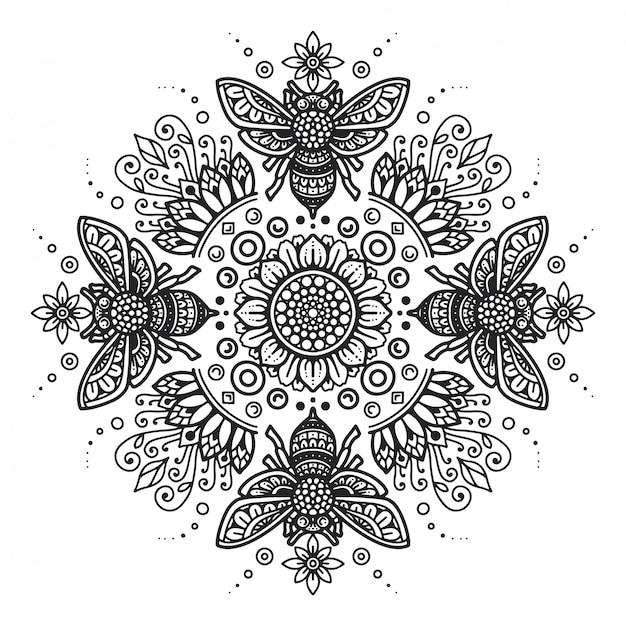 Раскраска пчела мандала.