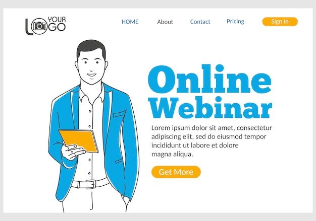 細い線スタイルのオンラインウェビナーのランディングページ。