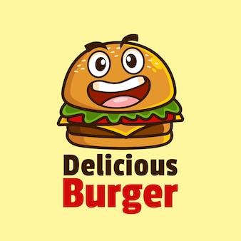 Улыбка мультфильм талисман бургер дизайн логотипа