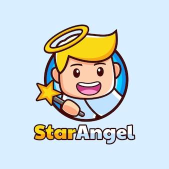 Мультфильм талисман ангела держит дизайн логотипа звезды палочки