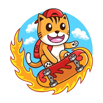 Иллюстрация скейтбордист кошка в действии