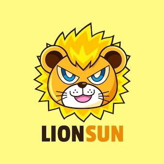 Пухлый лев дизайн логотипа талисмана