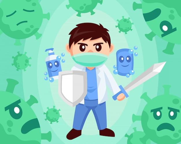 ウイルスに対するフラットなデザインスタイルの図に対する医師